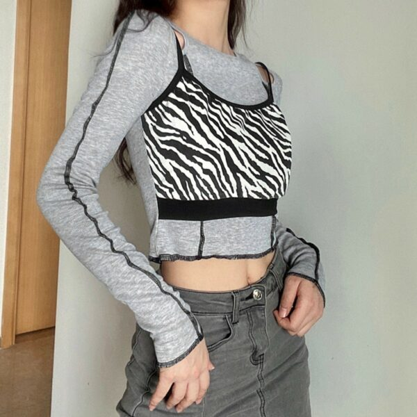 Torn Zebra Two Piece Gray Long Sleeve - Orezoria Aesthetic Outfits Shop - Aesthetic Clothing - eGirl Outfits - Soft Girl Outfits.psd