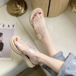 Transparent Straps Flat Small Platform Sandals.1- Orezoria Aesthetic Outfits Shop - Aesthetic Clothing - eGirl Outfits - Soft Girl Outfits