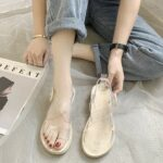Transparent Straps Flat Small Platform Sandals.2- Orezoria Aesthetic Outfits Shop - Aesthetic Clothing - eGirl Outfits - Soft Girl Outfits