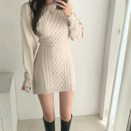 Twisted Lines Knitted Long Sleeve Dress 1 - Orezoria Aesthetic Outfits Shop - Aesthetic Clothing - eGirl Outfits - Soft Girl Outfits.psd