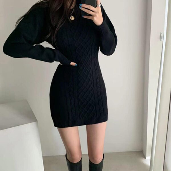 Twisted Lines Knitted Long Sleeve Dress 2 - Orezoria Aesthetic Outfits Shop - Aesthetic Clothing - eGirl Outfits - Soft Girl Outfits.psd