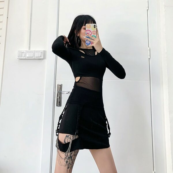 Two Piece Exposed Clavicle Mesh Top - Orezoria Aesthetic Outfits Shop - Aesthetic Clothing - eGirl Outfits - Soft Girl