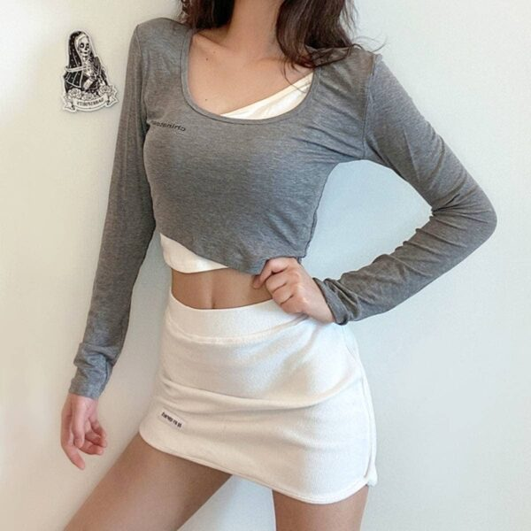 Two Piece Fake Under Top Long Sleeve 2 - Orezoria Aesthetic Outfits Shop - Aesthetic Clothing - eGerl Outfits Soft Gerl Outfits.spd