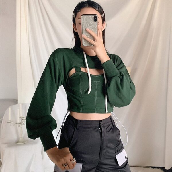 Two Piece Green Hooded Crop Top 1 - Orezoria Aesthetic Outfits Shop - Aesthetic Clothing - eGirl Outfits - Soft Girl Outfits.psd
