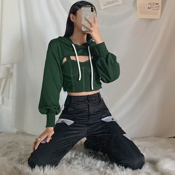 Two Piece Green Hooded Crop Top 2 - Orezoria Aesthetic Outfits Shop - Aesthetic Clothing - eGirl Outfits - Soft Girl Outfits.psd