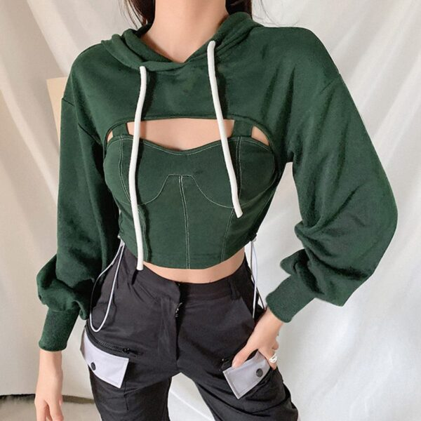 Two Piece Green Hooded Crop Top 3 - Orezoria Aesthetic Outfits Shop - Aesthetic Clothing - eGirl Outfits - Soft Girl Outfits.psd