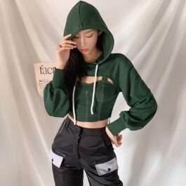Two Piece Green Hooded Crop Top 4 - Orezoria Aesthetic Outfits Shop - Aesthetic Clothing - eGirl Outfits - Soft Girl Outfits.psd