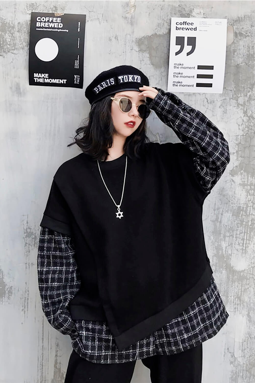 Two Piece Plaid Grid Sleeve Grunge Top