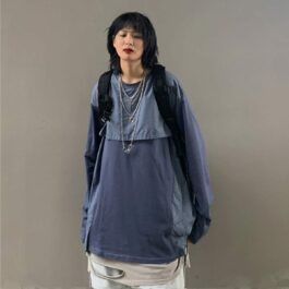 Two Piece Splicing Techwear Long Sleeve 2 - Orezoria Aesthetic Outfits Shop - Aesthetic Clothing - eGirl Outfits - Soft Girl Outfits.psd