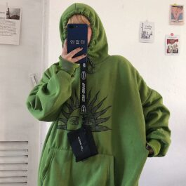 Two Side Tarot Sun Green Loose Hoodie.1- Orezoria Aesthetic Outfits Shop - Aesthetic Clothing - eGirl Outfits - Soft Girl Outfits