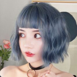 Ucla Queen Blue Bob Hair EGirl Wig 1- Orezoria Aesthetic Outfits Shop - Aesthetic Clothing - eGirl Outfits - Soft Girl Outfits (1)