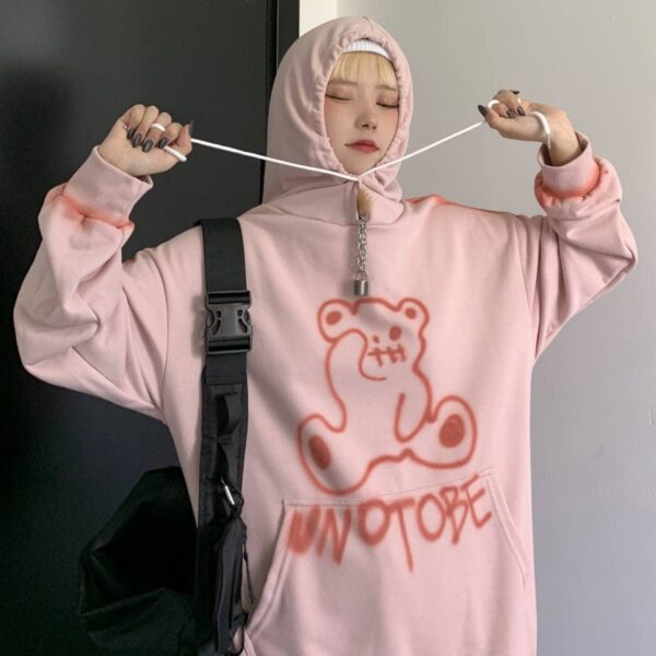 Unotobe Bear Graffiti Korean Hoodie.1- Orezoria Aesthetic Outfits Shop - Aesthetic Clothing - eGirl Outfits - Soft Girl Outfits