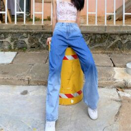 Up Knee Blue Gradient Retro Jeans 2- Orezoria Aesthetic Outfits Shop - Aesthetic Clothing - eGirl Outfits - Soft Girl Outfits