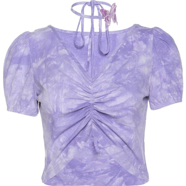 V Neck Butterfly Band Tie Dye Crop Top 4 - Orezoria Aesthetic Outfits Shop - Aesthetic Clothing - eGirl Outfits - Soft Girl Outfits