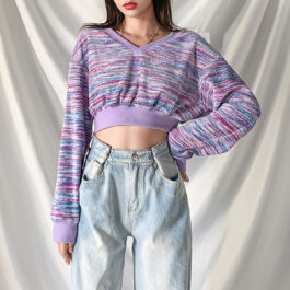 V Neck Purple Ripple Loose Pullover.1- Orezoria Aesthetic Outfits Shop - Aesthetic Clothing - eGirl Outfits - Soft Girl Outfits