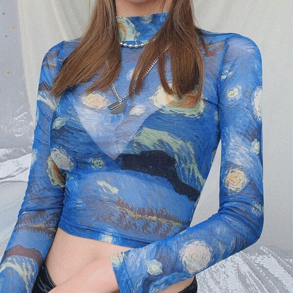 Van Gogh Starry Night Cropped Mesh Top.1- Orezoria Aesthetic Outfits Shop - Aesthetic Clothing - eGirl Outfits - Soft Girl Outfits
