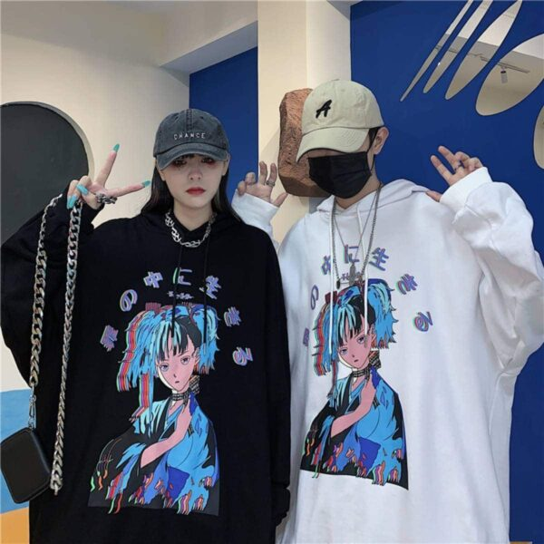 Vaporwave Retro Anime Girl Hoodie.1- Orezoria Aesthetic Outfits Shop - Aesthetic Clothing - eGirl Outfits - Soft Girl Outfits
