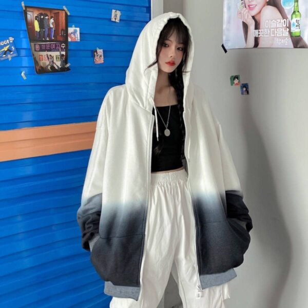 Vertical Gradient Oversized Hoodie.1- Orezoria Aesthetic Outfits Shop - Aesthetic Clothing - eGirl Outfits - Soft Girl Outfits