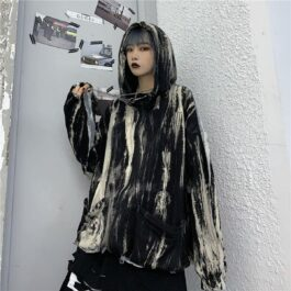 Vertical Grunge Stains Tie Dye Loose Hoodie 3- Orezoria Aesthetic Outfits Shop - Aesthetic Clothing - eGirl Outfits - Soft Girl Outfits