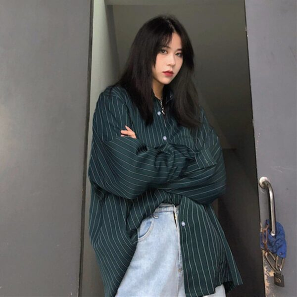 Vertical Stripes Oversized Korean Shirt 1 - Orezoria Aesthetic Outfits Shop - Aesthetic Clothing - eGirl Outfits - Soft Girl Outfits.psd