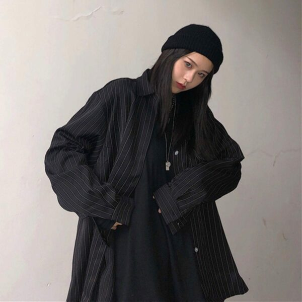 Vertical Stripes Oversized Korean Shirt 2 - Orezoria Aesthetic Outfits Shop - Aesthetic Clothing - eGirl Outfits - Soft Girl Outfits.psd