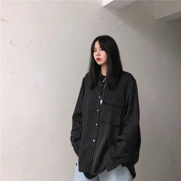 Vertical Stripes Oversized Korean Shirt 3 - Orezoria Aesthetic Outfits Shop - Aesthetic Clothing - eGirl Outfits - Soft Girl Outfits.psd