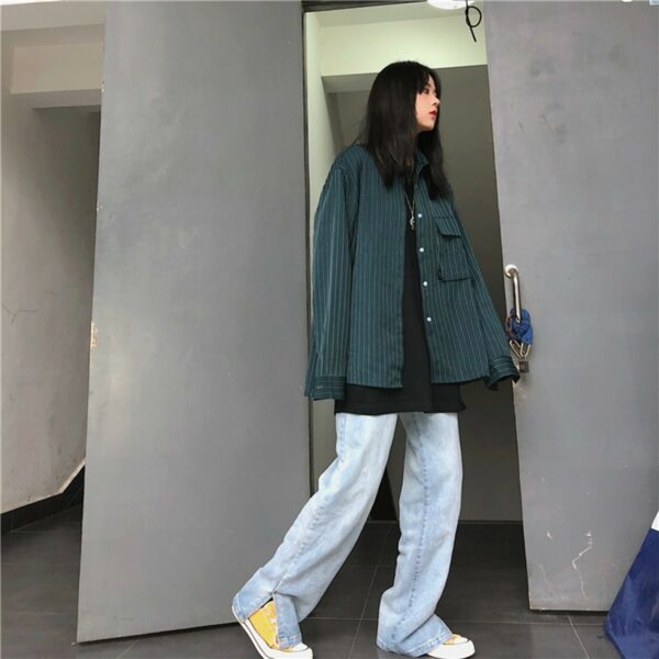 Vertical Stripes Oversized Korean Shirt 4 - Orezoria Aesthetic Outfits Shop - Aesthetic Clothing - eGirl Outfits - Soft Girl Outfits.psd