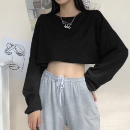 Waffle Loose Cropped Long Sleeve 1- Orezoria Aesthetic Outfits Shop - Aesthetic Clothing - eGirl Outfits - Soft Girl Outfits