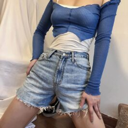 Washed Denim High Waisted Shorts 1 - Orezoria Aesthetic Outfits Shop - Aesthetic Clothing - eGirl Outfits - Soft Girl Outfits.psd