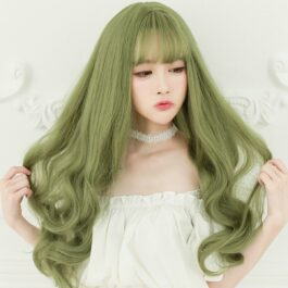 Wavy Moss Green Cottage Core Aesthetic Wig 1- Orezoria Aesthetic Outfits Shop - Aesthetic Clothing - eGirl Outfits - Soft Girl Outfits (1)