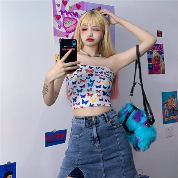 White Butterflies Printed Tube Top.1- Orezoria Aesthetic Outfits Shop - Aesthetic Clothing - eGirl Outfits - Soft Girl Outfits