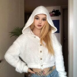 White Fluffy Hooded Cropped Cardigan) - Orezoria Aesthetic Outfits Shop - Aesthetic Clothing - eGirl Outfits - Soft Girl Outfits.psd