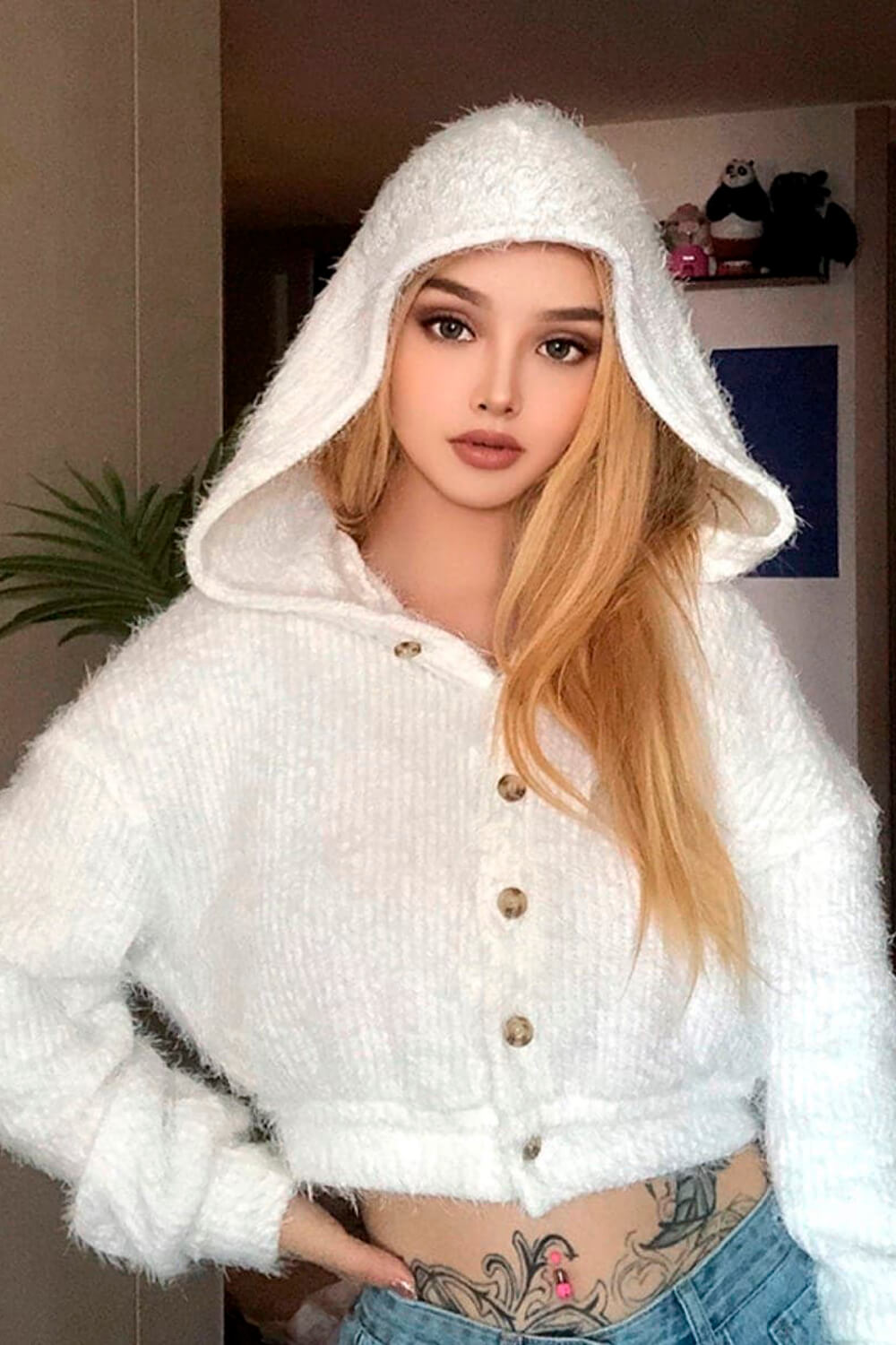 White Fluffy Hooded Cropped Cardigan