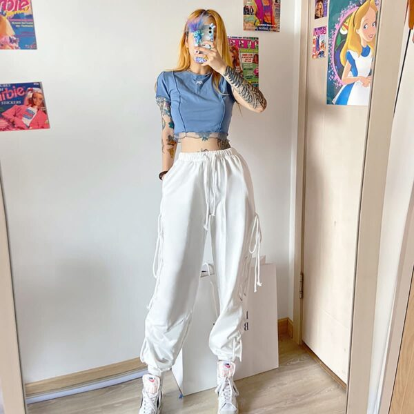 White Loose Sweatpants Baddie Aesthetic 1 - Orezoria Aesthetic Outfits Shop - Aesthetic Clothing - eGirl Outfits - Soft Girl Outfits