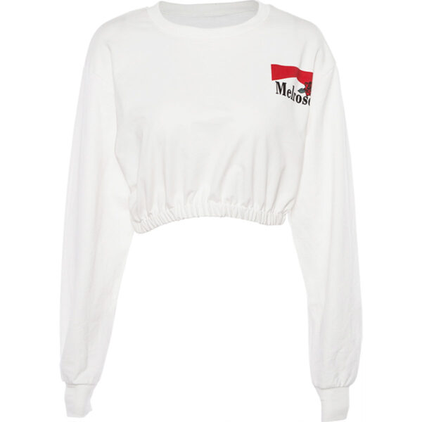 White Melrose Aesthetic Crop Top.1- Orezoria Aesthetic Outfits Shop - Aesthetic Clothing - eGirl Outfits - Soft Girl Outfits