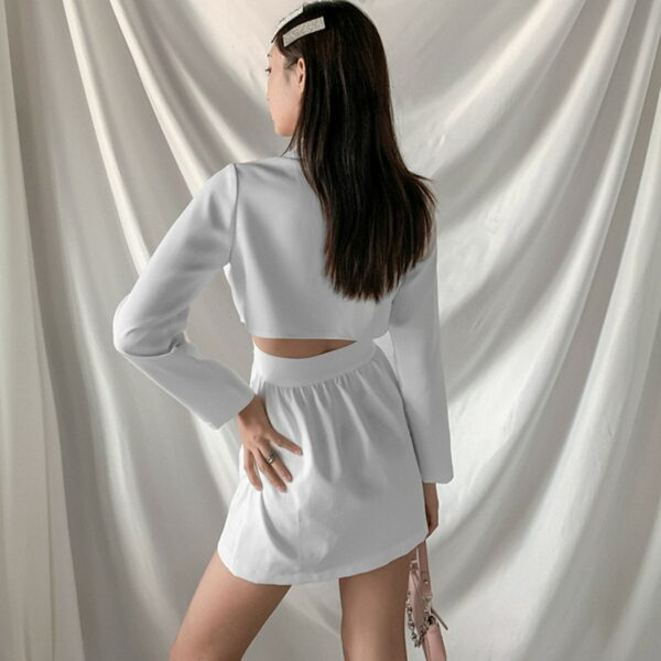 White Merged Skirt Top Onesie 2- Orezoria Aesthetic Outfits Shop - Aesthetic Clothing - eGirl Outfits - Soft Girl Outfits