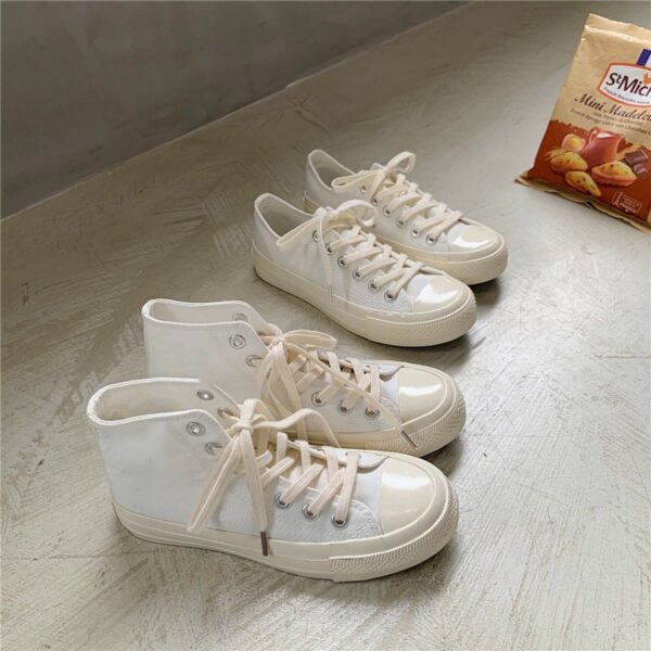 White Milky Cream Cute Core Canvas Shoes - Orezoria Aesthetic Outfits Shop - Aesthetic Clothing - eGirl Outfits - Soft Girl Outfits.psd