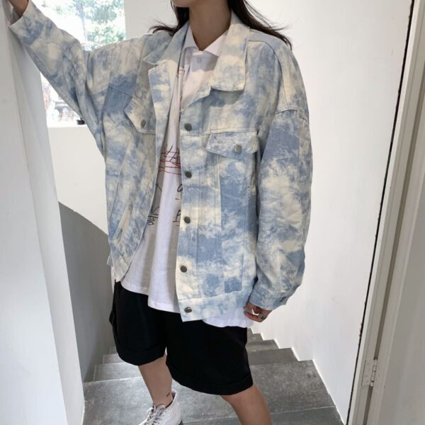 White Paint Tie Dye Korean Denim Jacket White Paint Tie Dye Korean Denim Jacket