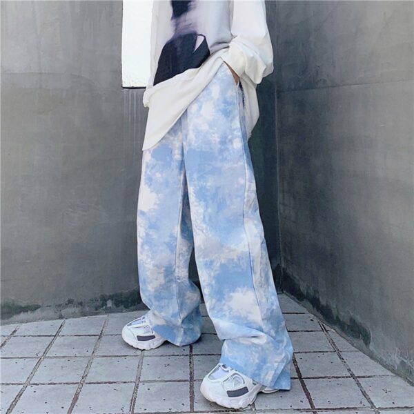 White Paint Tie Dye Sky Blue Wide Pants 1- Orezoria Aesthetic Outfits Shop - Aesthetic Clothing - eGirl Outfits - Soft Girl Outfits