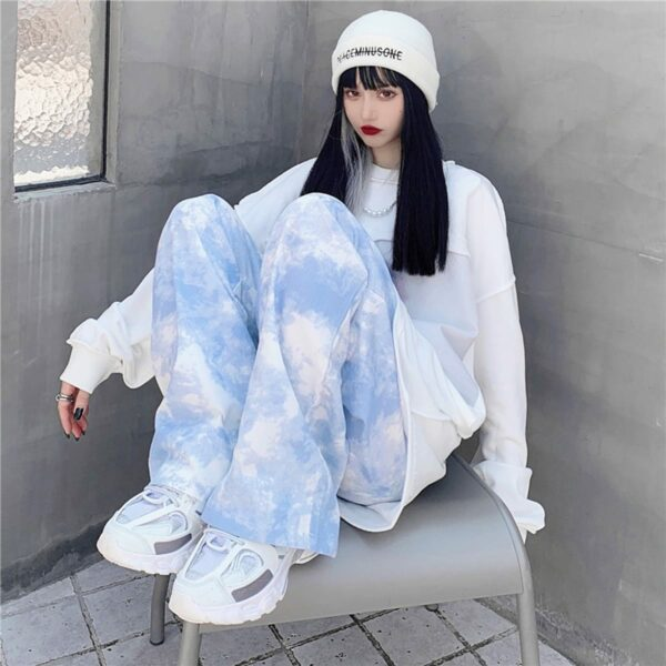 White Paint Tie Dye Sky Blue Wide Pants 2- Orezoria Aesthetic Outfits Shop - Aesthetic Clothing - eGirl Outfits - Soft Girl Outfits