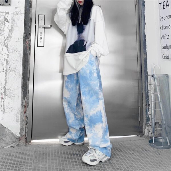 White Paint Tie Dye Sky Blue Wide Pants 3- Orezoria Aesthetic Outfits Shop - Aesthetic Clothing - eGirl Outfits - Soft Girl Outfits