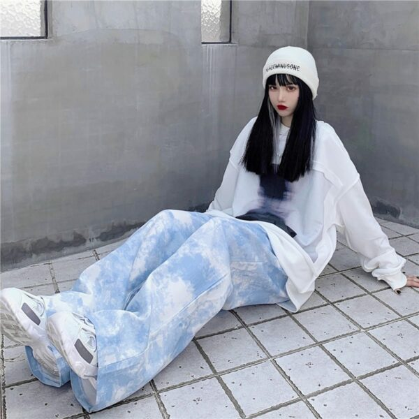 White Paint Tie Dye Sky Blue Wide Pants 4- Orezoria Aesthetic Outfits Shop - Aesthetic Clothing - eGirl Outfits - Soft Girl Outfits