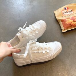 White Retro Aesthetic Canvas Shoes 1- Orezoria Aesthetic Outfits Shop - Aesthetic Clothing - eGirl Outfits - Soft Girl Outfits