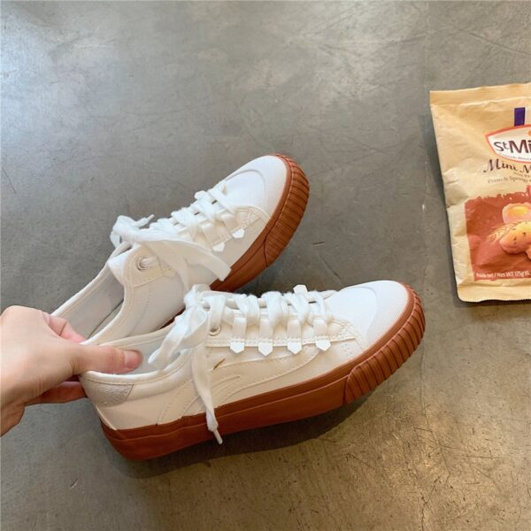 White Retro Aesthetic Canvas Shoes 4- Orezoria Aesthetic Outfits Shop - Aesthetic Clothing - eGirl Outfits - Soft Girl Outfits