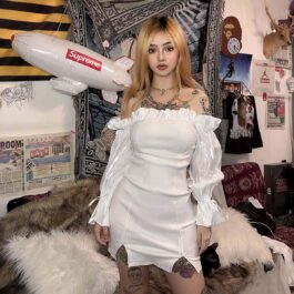 White Ruffle Open Shoulder Dress - Orezoria Aesthetic Outfits Shop - Aesthetic Clothing - eGirl Outfits - Soft Girl