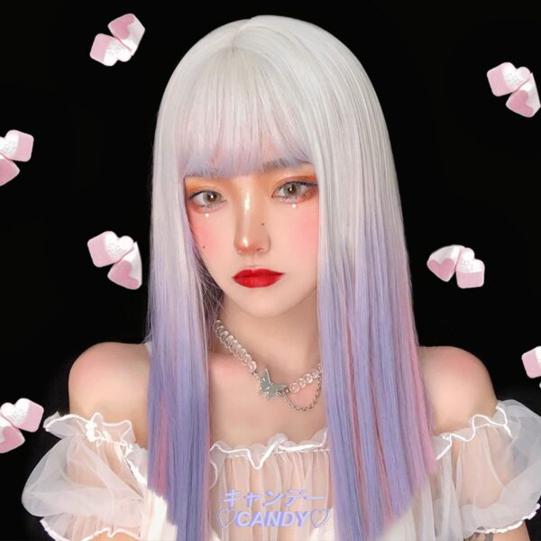 White to Pink Lavender Gradient EGirl Wig (1)- Orezoria Aesthetic Outfits Shop - Aesthetic Clothing - eGirl Outfits - Soft Girl Outfits