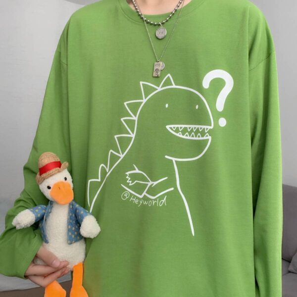 Why Am I Even Exist Dinosaur Long Sleeve.1- Orezoria Aesthetic Outfits Shop - Aesthetic Clothing - eGirl Outfits - Soft Girl Outfits
