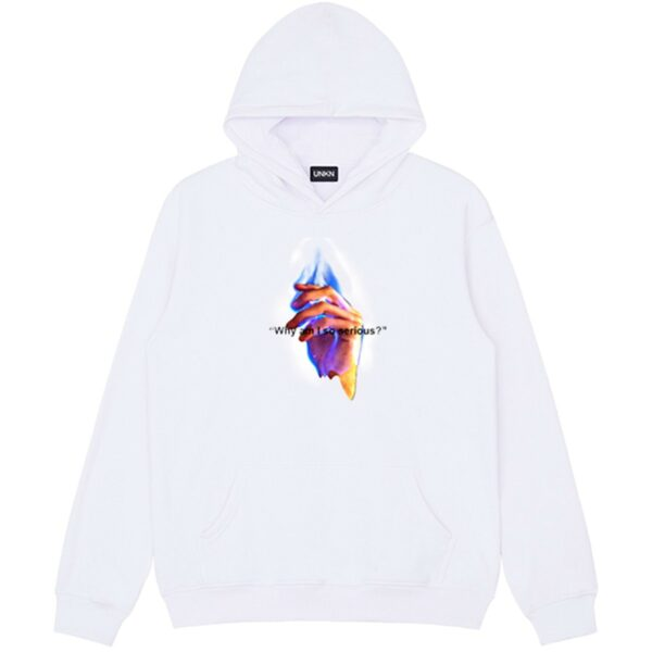 Why am I So Serious Flame Hand Hoodie 2 - Orezoria Aesthetic Outfits Shop - Aesthetic Clothing - eGirl Outfits - Soft Girl Outfits