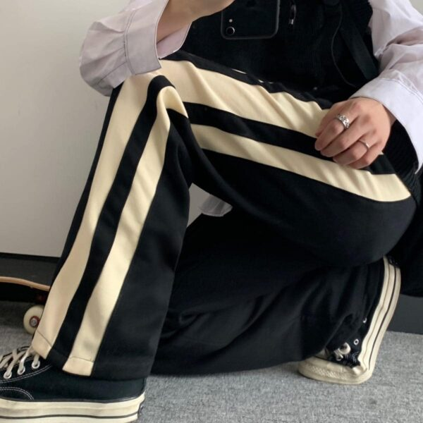 Wide Side Beige Lines Straight Pants - Orezoria Aesthetic Outfits Shop - Aesthetic Clothing - eGirl Outfits - Soft Girl Outfits.psd