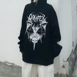Winged Demon Core Black Aesthetic Hoodie 1 - Orezoria Aesthetic Outfits Shop - Aesthetic Clothing - eGirl Outfits - Soft Girl Outfits